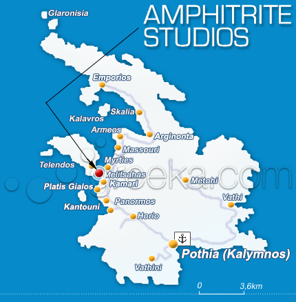 Location Amphitrite Studios Apartments in Kalymnos Island